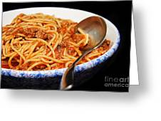 Spaghetti And Meat Sauce With Spoon Greeting Card
