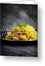 Spaghetti Carbonara Greeting Card by Mythja  Photography