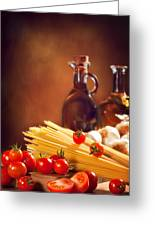 Spaghetti Pasta With Tomatoes And Garlic Greeting Card