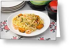 Spaghetti With Sea Food Greeting Card