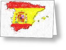 Spain Painted Flag Map Greeting Card