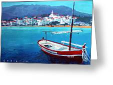 Spain Series 08 Cadaques Red Boat Greeting Card