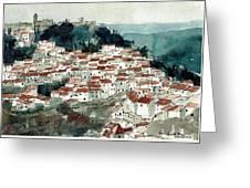 Spanish Hillside Village Greeting Card