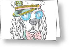 Spaniel In The Captains Cap. Vector Greeting Card