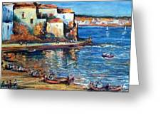 Spanish Fishing Village Greeting Card