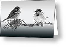 Sparrow Digital Art Greeting Card