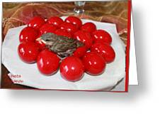 Sparrow On Red Eggs Greeting Card