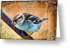 Sparrow With Verse And Painted Effect Greeting Card