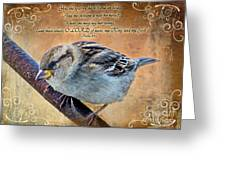 Sparrow With Verse Greeting Card