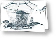 Sparrows In Charcoal Greeting Card
