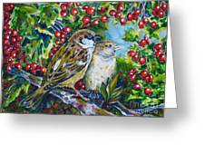 Sparrows On The Hawthorn Greeting Card