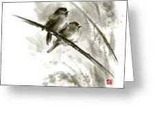 Sparrows Sumi-e Original Ink Painting Artwork Greeting Card by Mariusz Szmerdt