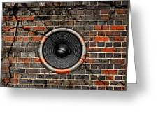 Speaker On A Cracked Brick Wall Greeting Card
