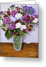 Special Bouquet In Crystal Vase On Heirloom Table Greeting Card