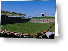 Spectators Watching A Soccer Match, Usa Greeting Card