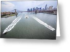 Speed Boats And Barge At East River In Front Of The Brooklyn Bridge And Manhattan Skyline Greeting Card