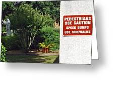 Speed Bumps Use Sidewalks Greeting Card