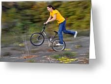 Speed - Monika Hinz Doing A Wheelie On Her Bmx Flatland Bike Greeting Card