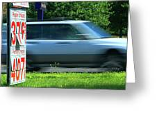 Speeding Gas Prices Greeting Card