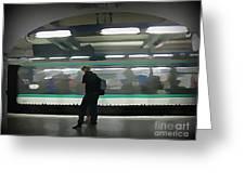 Speeding Subway Train Greeting Card