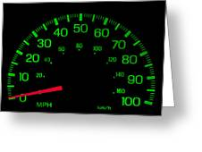 Speedometer On Black Isolated Greeting Card