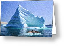 Sperm Whale Fluke In Front Of Iceberg Greeting Card