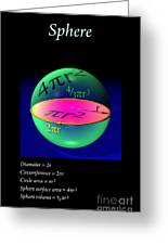 Sphere Equations Maths Poster Black Greeting Card