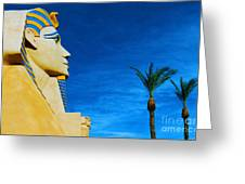 Sphinx And Palm Trees Las Vegas Greeting Card