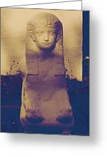 Sphinx Statue Blue Yellow And Lavender Usa Greeting Card