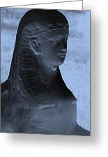 Sphinx Statue Torso Blue And Gray Usa Greeting Card