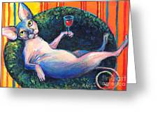 Sphynx Cat Relaxing Greeting Card