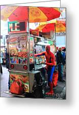 Spider Man Hot Dogs Greeting Card