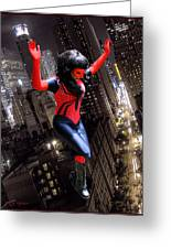 Spider Gal Leaping Greeting Card