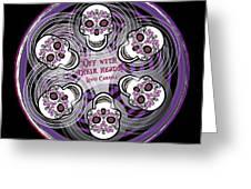 Spinning Celtic Skulls In Purple Greeting Card