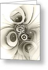 Spiral Mania 2 - Black And White Greeting Card