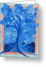 Spiral Tree Winter Blue Greeting Card