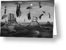 Spirits Of The Flying Umbrellas Bw Greeting Card
