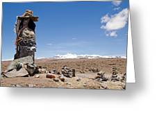 Spiritual Cairn In The Peruvian Altiplano Greeting Card