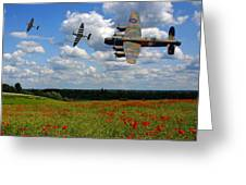 Spitfires Lancaster And Poppy Field Greeting Card