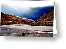 Spiti River- Kaza Ladkah- India- Viator's Agonism Greeting Card by Vijinder Singh