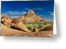 Spitzkoppe Mountain Landscape Of Granite Rocks Namibia Greeting Card