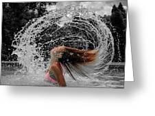 Hair Flip Splash Greeting Card
