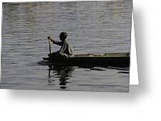 Splashing In The Water Caused Due To Kashmiri Man Rowing A Small Boat Greeting Card