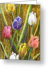 Splashy Tulips II With Gold Leaf By Vic Mastis Greeting Card