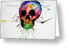 Splatter Skull Greeting Card by Christy Bruna
