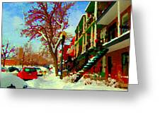 Splendor And Colors Of Quebec Winters Verdun Montreal Urban Street Scene Carole Spandau Greeting Card