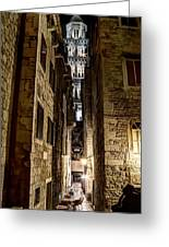 Split Cathedral From The Temple Of Jupiter At Night Croatia Greeting Card