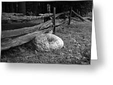 Split Rail Fence And Rock I Greeting Card