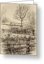 Split Rail Winter Sepia Greeting Card
