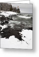 Split Rock Lighthouse Winter 17 Greeting Card